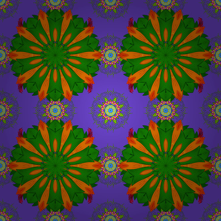 curlicues: Seamless floral pattern with flowers on green, violet and orange colors. Flowers on green, violet and orange colors in watercolor style.
