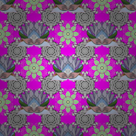 primeval: Flowers on magenta, white and neutral colors. Cute Floral pattern in the small flower.