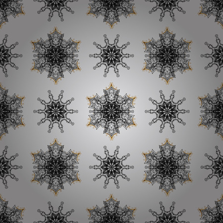 textile image: Damask seamless pattern for design. Vector seamless pattern on gray background with dim elements.
