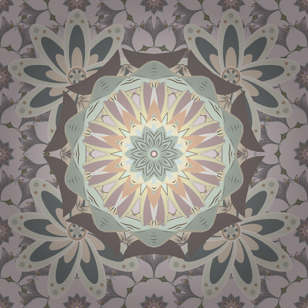 Watercolor seamless pattern. Floral print. Flowers on neutral, beige and gray colors in watercolor style. Illustration