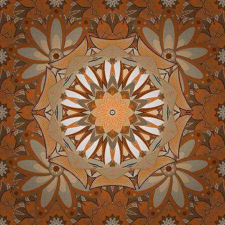Geometric circle vector element. Tribal, Boho, Bohemian style. Ornament beige, orange and brown colored card with mandala. Kaleidoscope, medallion, yoga, india, arabic.