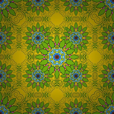 thai motifs: Arabic Vintage decorative ornament. East, Islam, Thai, Indian, ottoman motifs. Vector Mandala colored on yellow, green and blue colors. Mandala pattern. Orient, symmetry lace, meditation symbol.