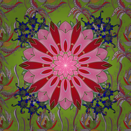 Spring summer time. Flowers on green, pink and red colors. Gentle romantic print. Vector seamless cute flower pattern. Holidays mood.