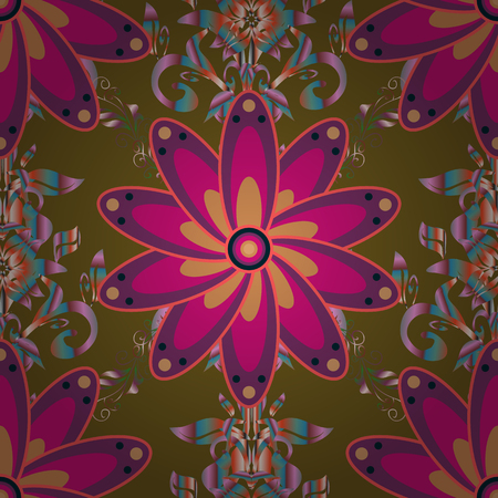Vector pattern. Cute Floral pattern in the small flower. Vector illustration. Gentle, summer floral on brown, purple and magenta colors.