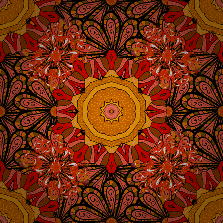 calico: Flowers on orange, black and red colors. Vector illustration. Seamless pattern with floral ornament.