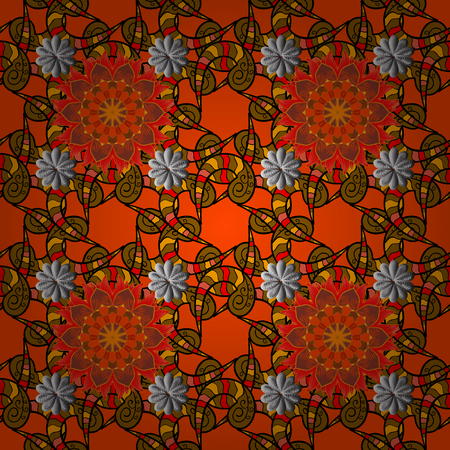 wet paint: Flowers on orange, brown and black colors. Cute flower vector pattern. Flat Flower Elements Design. Colour Spring Theme seamless pattern Background.