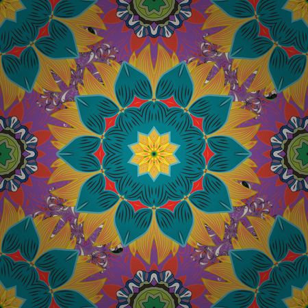 seamless: Seamless spring pattern with blue, yellow and violet Flowers, blue, yellow and violet flowers. Vector design. On blue, yellow, violet colors in watercolor style. Illustration