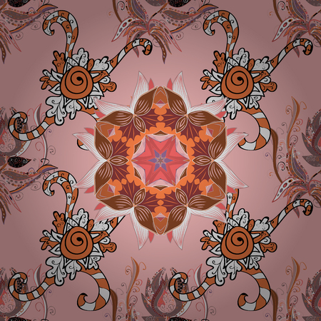 seamless: Orange and white on neutral, orange and white. Abstract seamless vector pattern with hand drawn floral elements. 1950s-1960s motifs. Silk scarf with blooming flowers. Retro textile design collection.