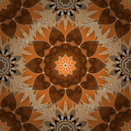 seamless: Cute flower vector pattern. Flowers on brown, beige and orange colors. Colour Summer Theme seamless pattern Background. Flat Flower Elements Design.