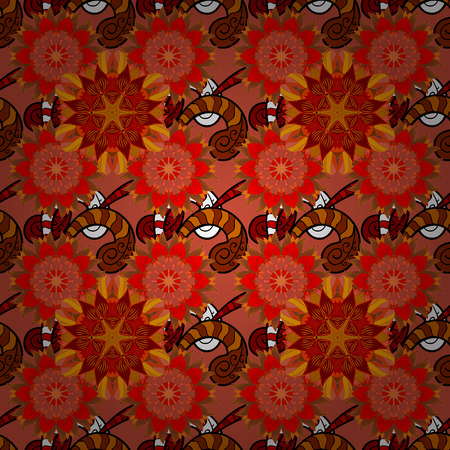 seamless: Vector floral pattern in doodle style with flowers. Gentle, nice floral background. Flowers on orange, red and brown colors. Illustration