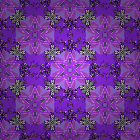 Seamless pattern with colorful paisley, violet, black and neutral flowers and decorative elements. Seamless background. Vector sketch. For print on fabric, textiles, sketch. Vintage retro style.