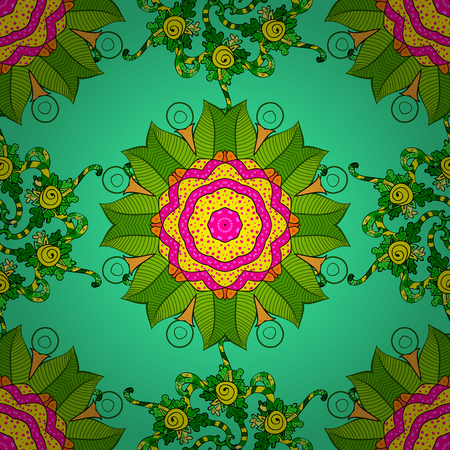 Vector illustration. Colored mandala on green, yellow and magenta colors. Mandala style. Rich ethnic striped seamless pattern geometric design. Illustration