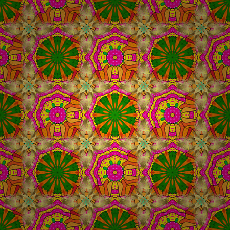 On yellow, green and orange colors. Floral sketch. Vector illustration. Seamless pattern. Colorful ornamental border. Indian ornament. Illustration