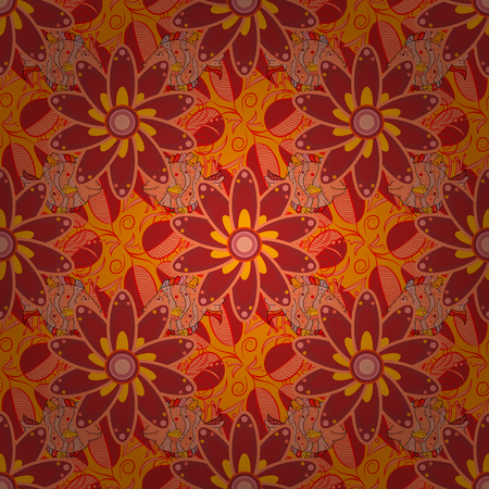 calico: Vintage outline illustration. Floral red, orange and yellow seamless pattern. Vector flower print.
