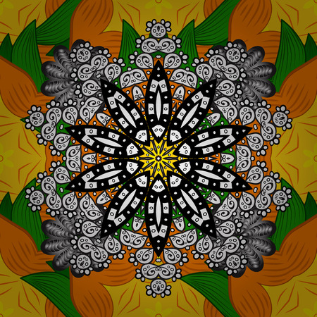 Orange, yellow and white colors with colored ornament mandala, based on ancient greek and islamic ornaments. For wedding invitation, book cover or flyer.
