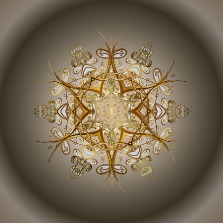 Vector snowflakes background. Snowflakes pattern. Flat design with abstract snowflakes isolated on colorful background. Golden snowflake.