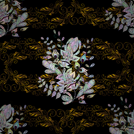 swirl: Seamless classic vector golden pattern. Floral ornament brocade textile pattern, glass, metal with floral pattern on black, brown and neutral colors with golden elements.
