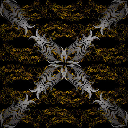 swirl: Christmas, snowflake, new year. Golden pattern on black, gray and brown colors with golden elements. Seamless vintage pattern on black, gray and brown colors with golden elements.