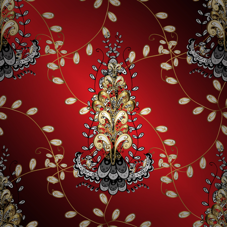 swirl: Damask ornamental pattern repeating background. Gold Sketch on texture background. Golden element on red, brown and white colors. Gold red, brown and white floral ornament in baroque style.