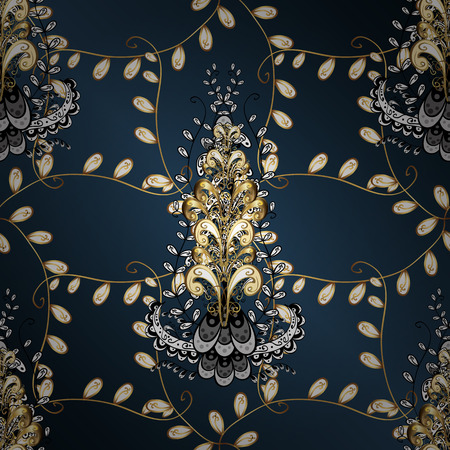 swirl: Flat hand drawn vintage collection. Backdrop, fabric, gold sketch. Golden pattern on blue, white and green colors with golden elements. Vector golden ornamental pattern. Illustration