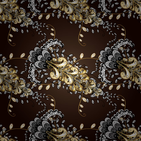 swirl: Paisleys elegant floral vector ornamental pattern background sketch with vintage stylish beautiful modern 3d line art gold and brown, black and white paisley flowers, doodles, leaves and ornaments.