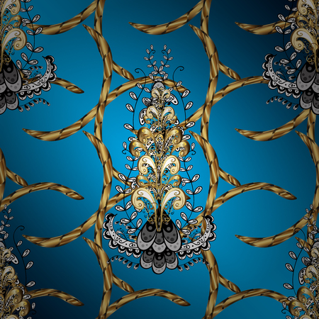 blue background: Damask ornamental pattern for design. Vector ornamental pattern on blue, brown and black colors with golden elements and with white doodles. Vector illustration. Illustration