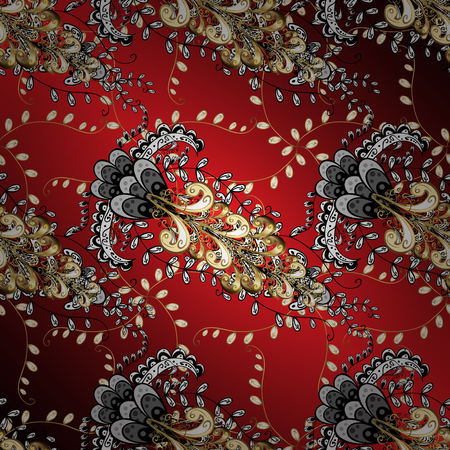 paintings: Ornamental Golden pattern. Vector oriental ornament. On red, black and brown colors with golden elements and with white doodles.