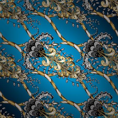 blue background: Floral classic texture. Royal retro background. Ornamental pattern golden elements. Design vintage for card, sketch, wrapping, textile. Vector illustration. Gold template. Illustration