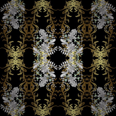 swirl: Seamless vintage pattern on black, white and brown colors with golden elements and with white doodles. Christmas, snowflake, new year.