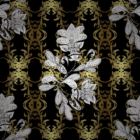 swirl: Floral ornament brocade textile pattern, glass, metal with floral pattern on black, white and neutral colors with golden elements. Seamless classic vector golden pattern.