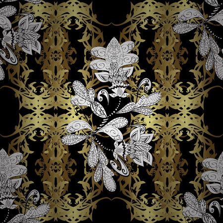 swirl: Golden element on black, white and neutral colors. Gold Sketch on texture background. Gold black, white and neutral floral ornament in baroque style. Damask seamless pattern repeating background.