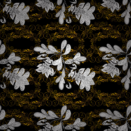 swirl: Golden pattern on black, white and brown colors with golden elements. Ornate vector decoration. Seamless damask pattern background for sketch design in the style of Baroque.