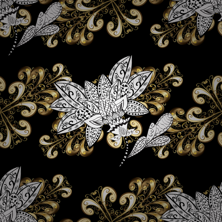 swirl: Vector oriental ornament. Golden pattern with white doodles on black, white and beige colors with golden elements. Seamless golden pattern. Illustration