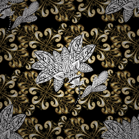 swirl: Decorative symmetry arabesque. Good for greeting card for birthday, invitation or banner. Gold on black, white and beige colors. Seamless pattern medieval floral royal pattern. Vector illustration.