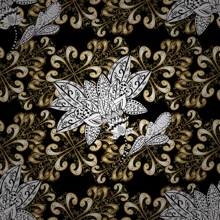 swirl: Seamless pattern on black, white and beige colors with golden elements. Seamless classic vector golden pattern. Traditional orient ornament, classic vintage background. Illustration
