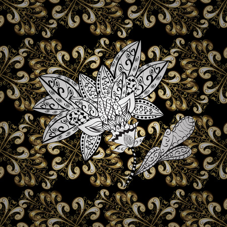 swirl: Vintage seamless pattern on a black, white and beige colors with golden elements. Vector illustration.