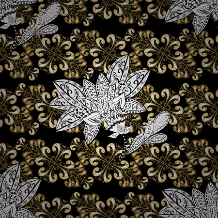 swirl: Backdrop, fabric, gold sketch. Flat hand drawn vintage collection. Vector golden seamless pattern. Golden pattern on black, white and beige colors with golden elements.