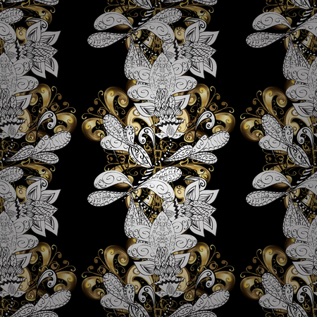 swirl: Seamless golden textured curls in oriental style arabesques. Golden pattern on black, white and gray colors with white doodles. Vector golden pattern. Illustration