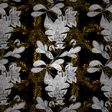 swirl: Golden pattern with white doodles on black, white and brown colors with golden elements. Seamless golden pattern. Vector oriental ornament.
