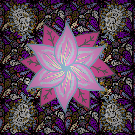 Vector illustration. On black, pink and blue colors. 3d flowers, seamless.