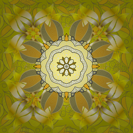 Seamless Floral Pattern in Vector illustration. Flowers on yellow, neutral and beige colors.