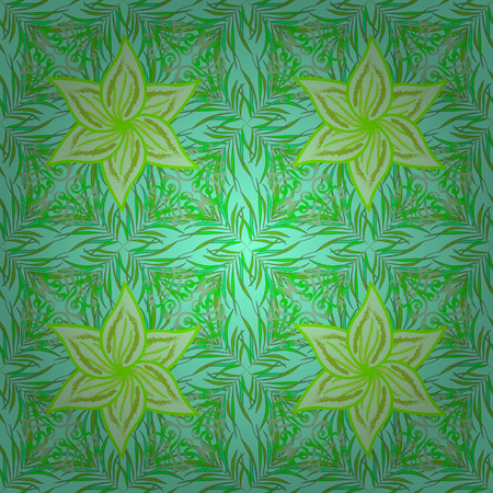 blue background: Seamless pattern with bright flowering carpet of plants on a green, blue and neutral colors.