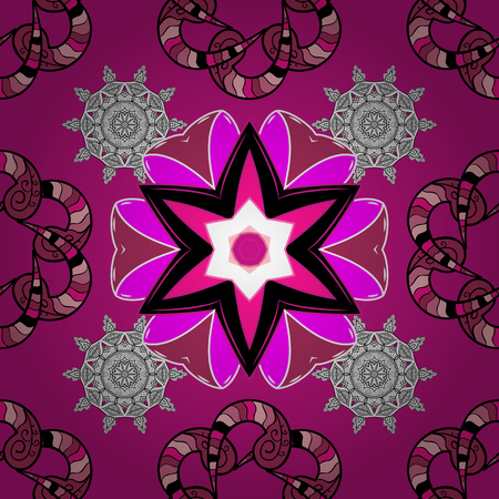 Seamless Floral Pattern in Vector illustration. Flowers on magenta, black and pink colors. Illustration
