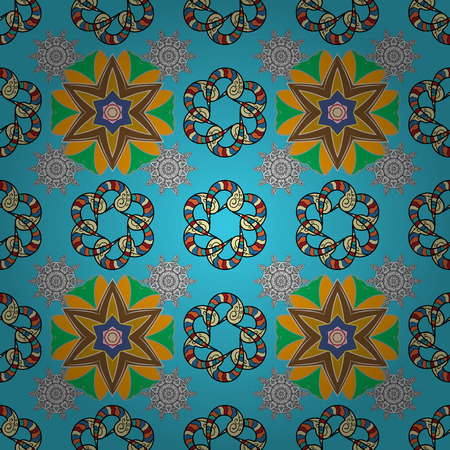 blue background: Vector illustration. In asian textile style. Seamless flowers pattern. Flowers on blue, beige and black colors. Vector illustration.