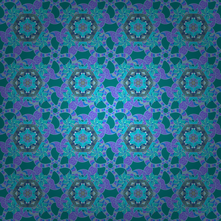 blue background: Colour Spring Theme seamless pattern Background. Vector illustration. Seamless floral pattern with flowers, watercolor. Flat Flower Elements Design. Flowers on blue, violet and neutral colors. Illustration