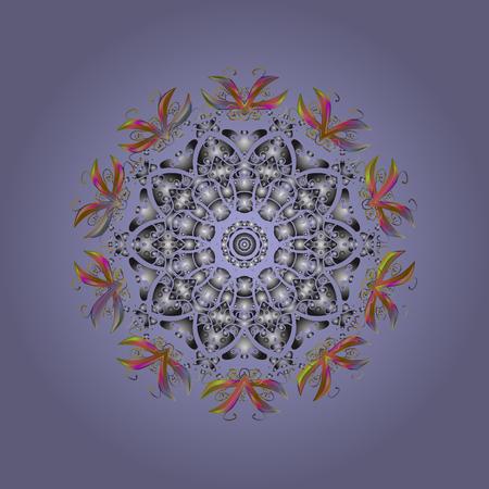 blue background: Snowflake Vector illustration. Winter mandala. Snowflake isolated on radial lilac background. Snowflake Icon.