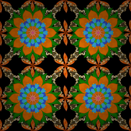Watercolor seamless pattern. Floral print. Flowers on black, orange and green colors in watercolor style.