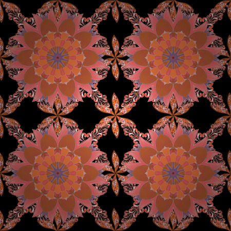 Pretty vintage feedsack pattern in small black, orange and pink, flowers. Millefleurs. Floral sweet seamless background for textile, fabric, covers, sketchs, print, wrap, scrapbooking, decoupage.