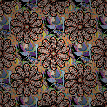 paintings: Flowers on black, neutral and orange colors. Flat Flower Elements Design. Colour Spring Theme seamless pattern Background. Seamless pattern with flower.