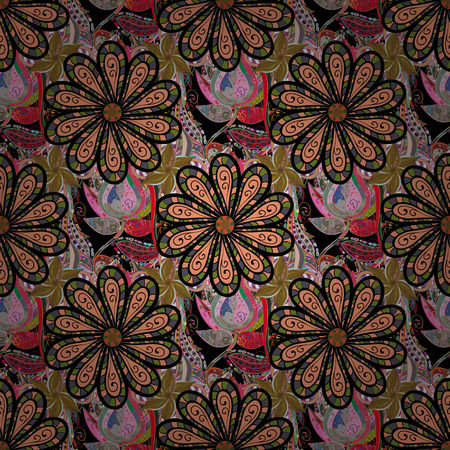 pink and black: Design gift wrapping paper, greeting cards, posters and banner design. Flowers on black, pink and green colors. Vector flat flowers seamless pattern.